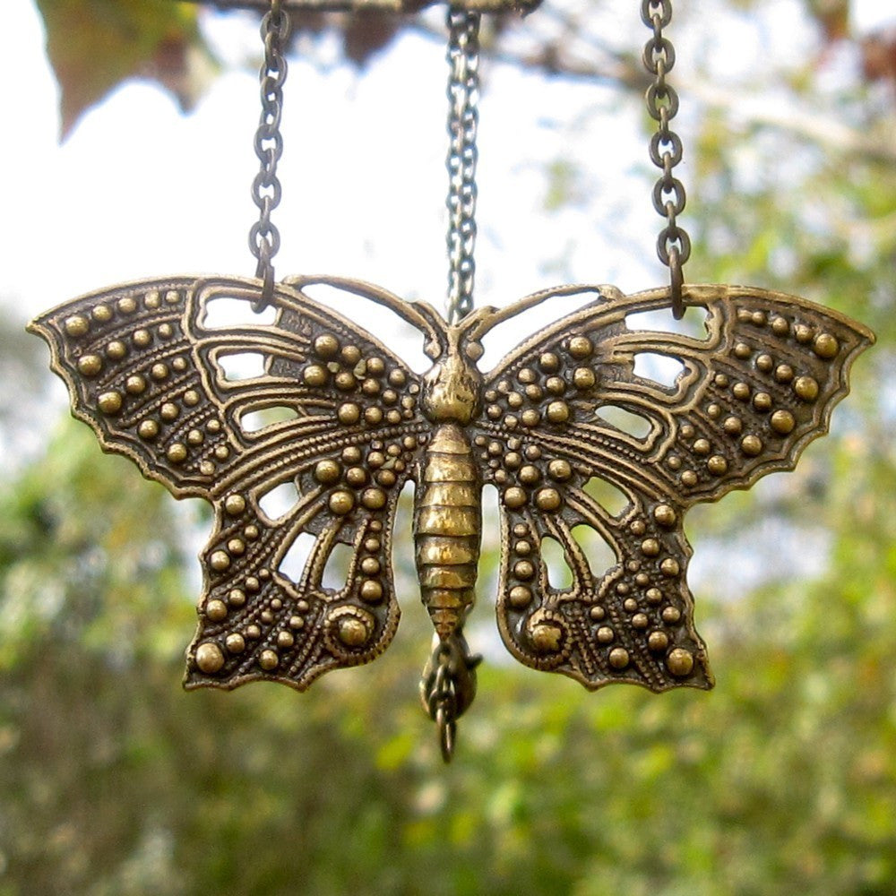 Brass Filigree Butterfly Pendant Necklace