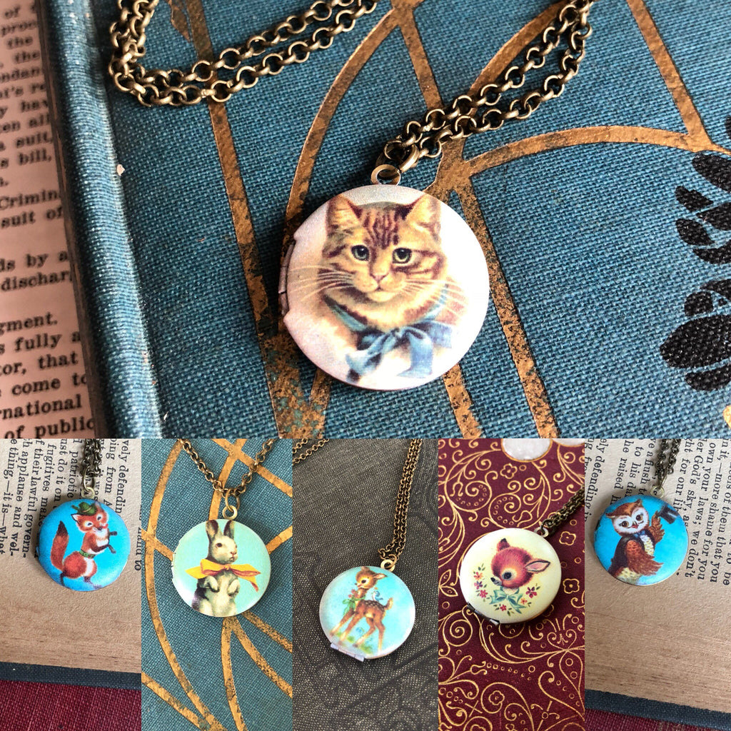 Cat Locket Necklace in Antique Bronze - select vintage design