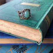Aventurine Filigree Ring in Brass or Silver