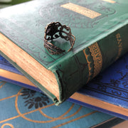 Aventurine Filigree Ring in Antique Brass or Silver