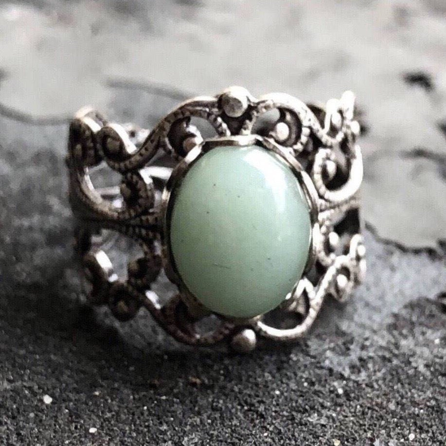 Green Aventurine on Brass or Silver