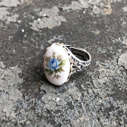 Vintage Blue Rose Cameo Ring