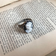Black and White Woman Cameo Ring