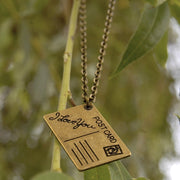 Postcard Necklace - Brass