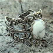 White Howlite Stone and Brass Filigree