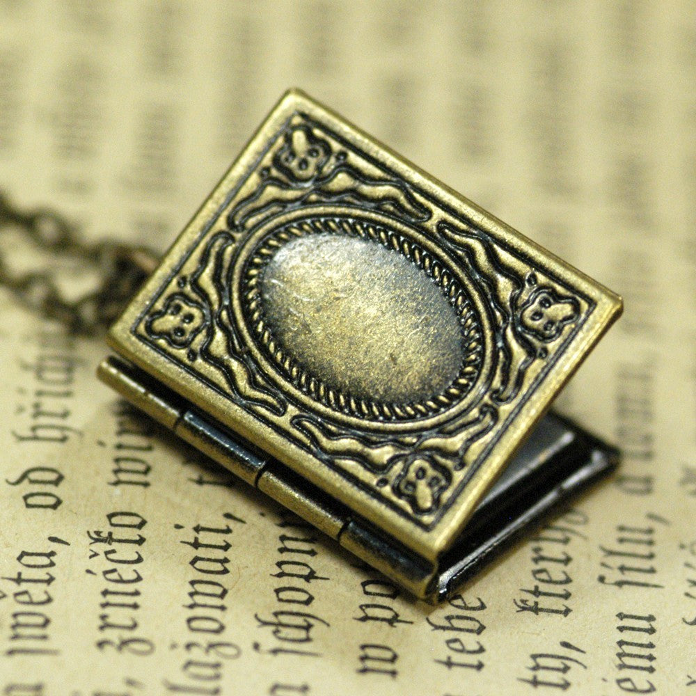 Book Locket - Antiqued Brass
