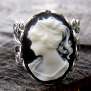 Cameo Ring- Black and White Lady in Silver