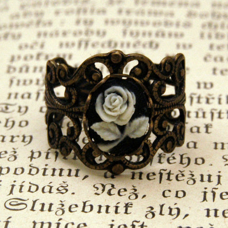 Brass Rose Filigree Ring