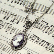 Purple Victorian Lady Cameo Necklace