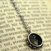 Vintage Typewriter Key Necklace- Question Mark