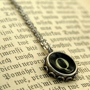 Vintage Typewriter Key Necklace- Q