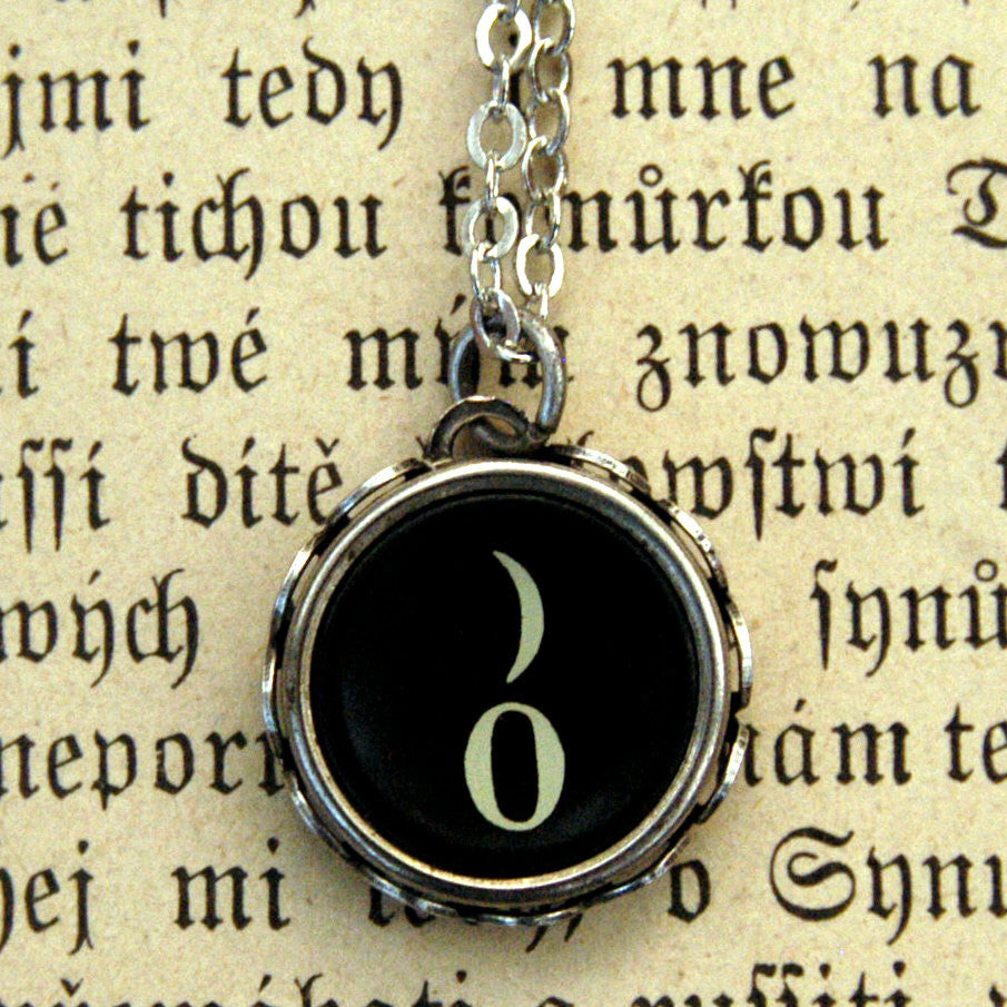 Vintage Typewriter Key Necklace- Zero