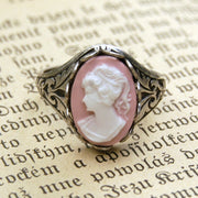 Cameo Ring- Pink Lady in Silver