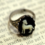 Vintage Zodiac Cameo Ring - Aries