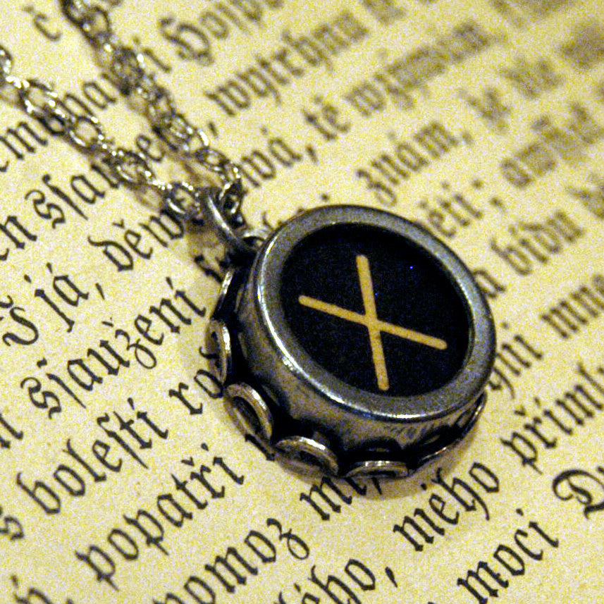 Vintage Typewriter Key Necklace- X