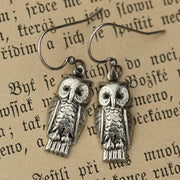 Silver Retro Owl Earrings