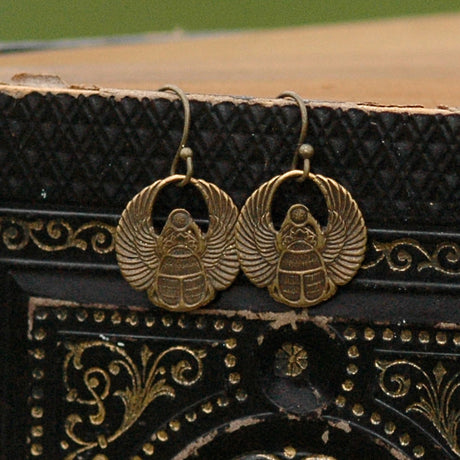Brass Scarab Earrings