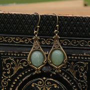 Aventurine and Antiqued Brass Earrings