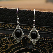 Art Deco Onyx Earrings in Antique Silver