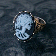 Skeleton Lady Cameo Ring- Black and Brass