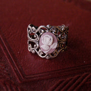 Pink Rose Filigree Ring