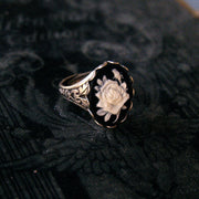 Black Rose Cameo Ring in Antique Brass