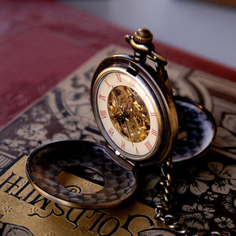 Brass Mechanical Pocket Watch Necklace 6