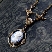 Victorian Lady Cameo Necklace- Brass and Blue