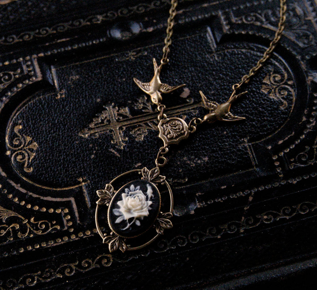 Victorian Flower Cameo Necklace- Brass and Black
