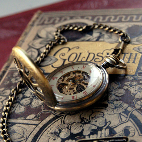 Brass Mechanical Pocket Watch 8 -on Fob or Necklace