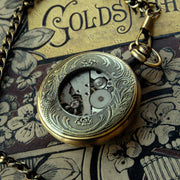 Brass Mechanical Pocket Watch on Fob or Necklace