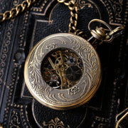 Brass Zodiac Mechanical Pocket Watch on Fob or Necklace