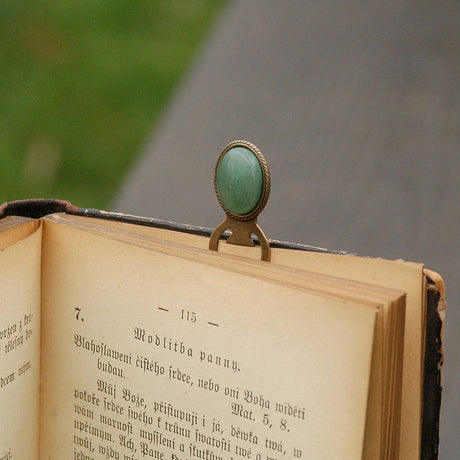 Brass Bookmark- Pick a Stone