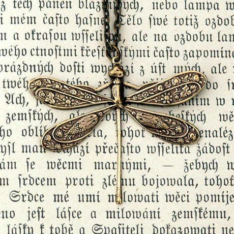 Victorian Dragonfly Necklace- Antiqued Brass