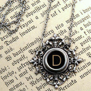 Filigree Typewriter Key Necklace- Pick any Letter Number or Symbol