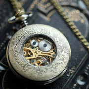 Brass Mechanical Pocket Watch on Fob or Necklace Chain