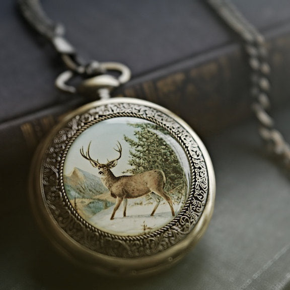 Brass Deer Mechanical Pocket Watch -on Fob or Necklace