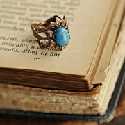 Blue Howlite Ring on Brass or Silver