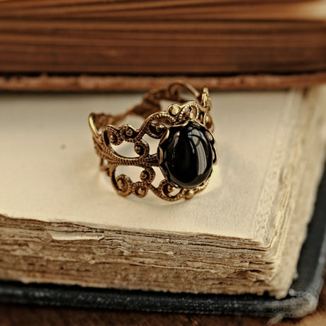 Black Onyx Stone Ring in Antique Brass