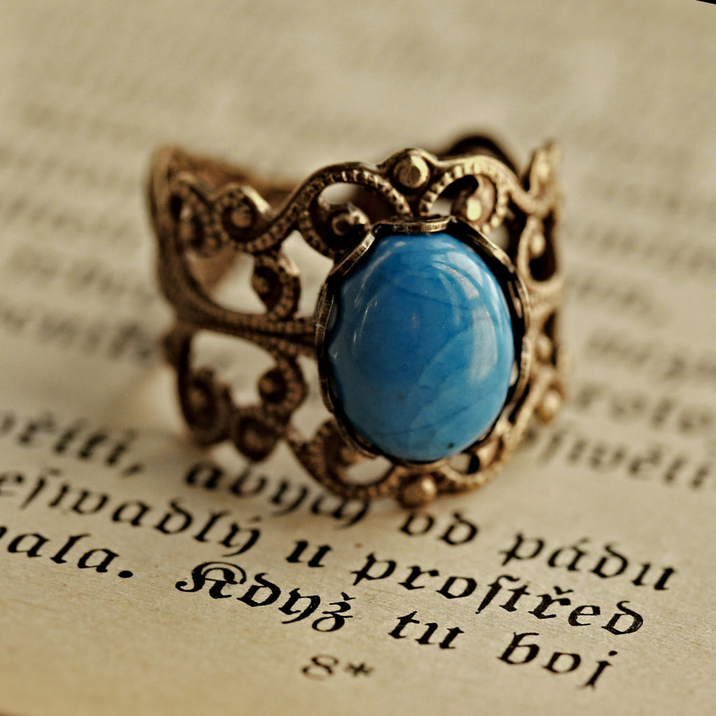 Blue Howlite Filigree Ring in Brass or Silver
