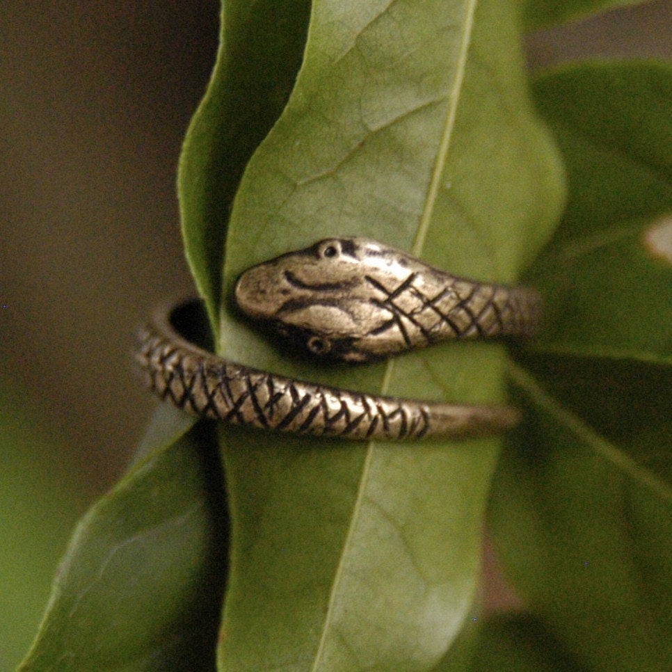Coiled Snake Ring in Brass