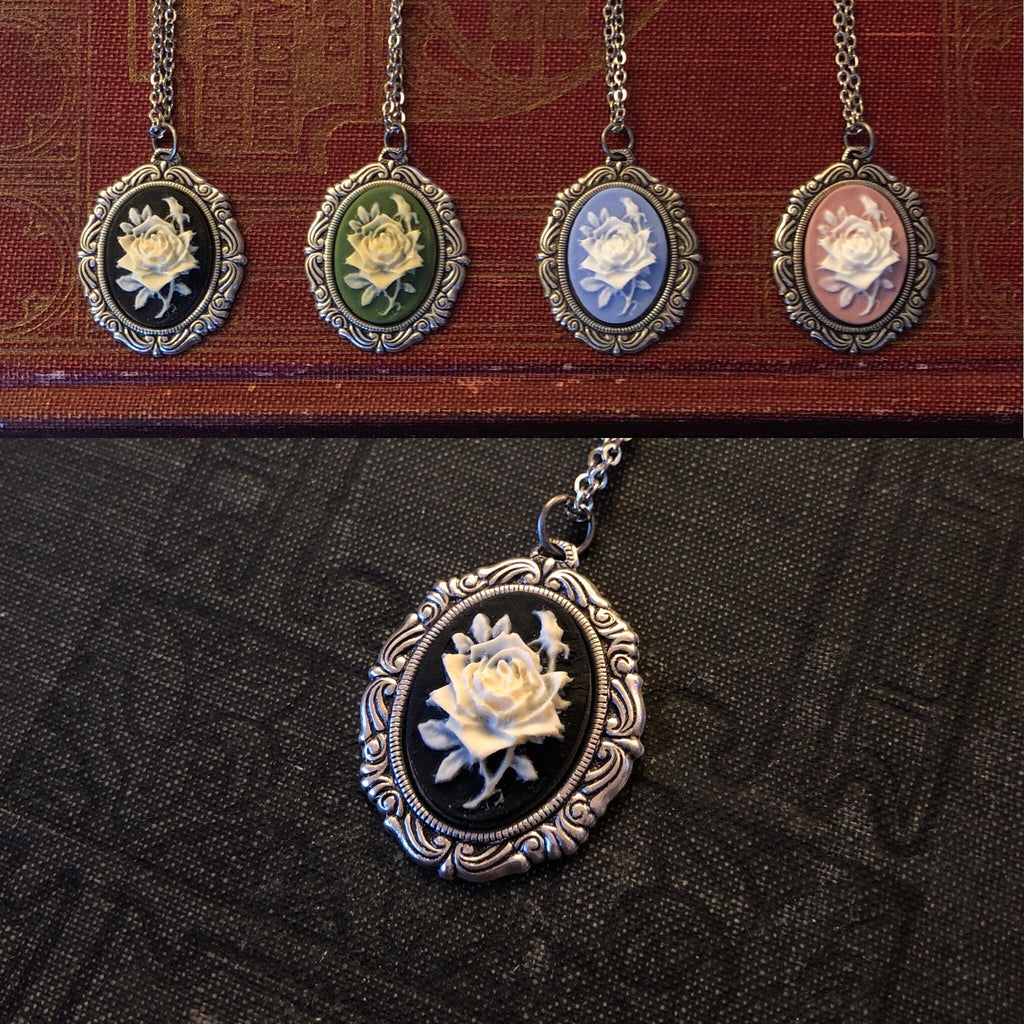 Flower Cameo Necklace - Pick a Color
