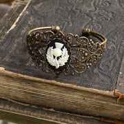 Thistle Cameo Cuff Bracelet- Adjustable Antiqued Bronze Vintage Victorian Filigree Style Thistle Horse