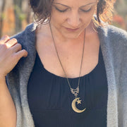 Crescent Moon and Star Pendant Necklace