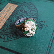 Skeleton Lady Cameo Ring- Green and Brass