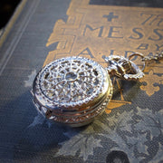 Small Pocket Watch Necklace in Silver