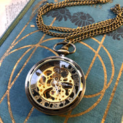 Silver Mechanical Pocket Watch -on Fob or Necklace