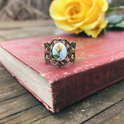 Vintage Rose Bud Cameo Ring