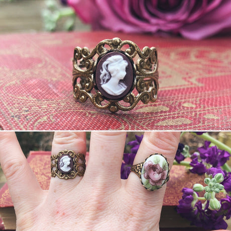 Purple Lady Cameo Ring