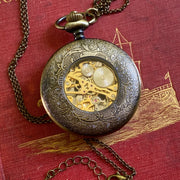 Mechanical Pocket Watch in Antiqued Brass on Necklace Chain or Pocket Chain
